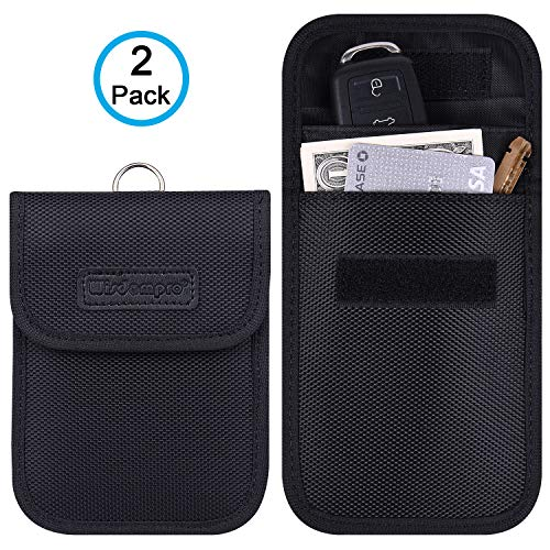 Faraday Bag for Key Fob, Wisdompro 2 Pack WP4694 RFID Key Fob Protector RF Car Signal Blocking, Anti-Theft Pouch, Anti-Hacking Case Blocker - Black