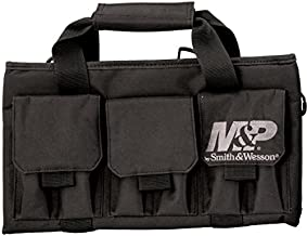Smith & Wesson M&P Pro Tac Padded Single Handgun Case with Ballistic Fabric Construction and External Pockets for Shooting, Range, Storage and Transport