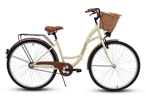 Goetze Eco Vintage Citybike Hollandrad Damenfahrrad Stahl Gestell Tiefeinsteiger 26 Zoll Alu Räder mit Rücktrittbremse, 1 Gang ohne Schaltwerk, Weiden Korb Inklusiv!