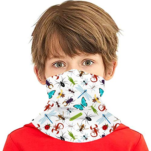 Colorful Insect Animals Pattern Boys Girls Bandanas Face Mask Kids Neck Gaiter Headwear Windproof Sun Protection Black