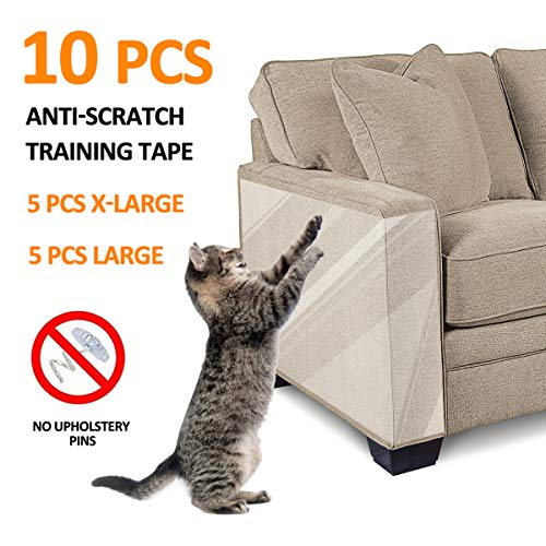 FOCUSPET Furniture Protectors from Cats 10pcs Cat Scratch Deterrent Sheet | Double-Sided Training Tape an-ti Pet Scratch for Couch Furniture Protector 5XL-17'x12' + 5L-17'x10'
