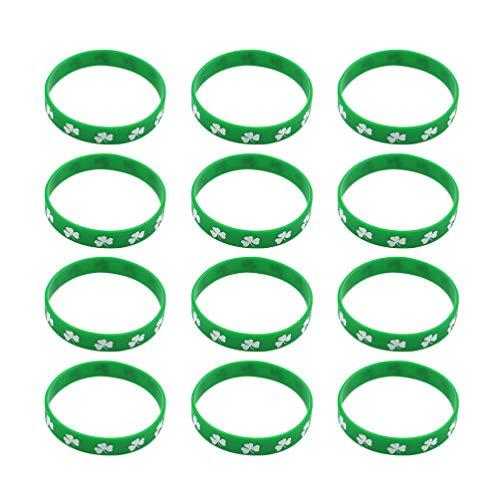 Amosfun - Pulseras de silicona para el día de San Patricio, 12 unidades, diseño de trébol medium Imagen 5
