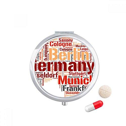 DIYthinker Duitsland City Naam Kaart Stijl Patroon Reizen Pocket Pill case Medicine Drug Opbergdoos Dispenser Spiegel Gift