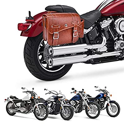 Leather Motorcycles Bag Throw Over Saddle Bag with Cup Pocket for Sportster Softail Dyna Road King V-star Shadow, Vulcan, Brown PU Material