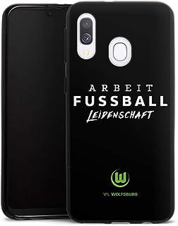 DeinDesign Silikon Hülle kompatibel mit Samsung Galaxy A40 Case schwarz Handyhülle VFL Wolfsburg Offizielles Lizenzprodukt Statement