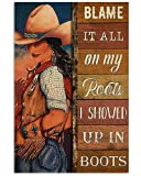 AZSTEEL Cowgirl Blame It On My Roots | Poster No Frame