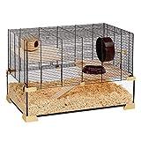 Ferplast Cage Hamsters, Souris et Rongeurs Karat 80  Habitat pour Petits Rongeurs, Structure à Deux Étages avec Accessoires, Verre et Métal Vernis Noir, 78,5X 45,5 X H 52,5 cm