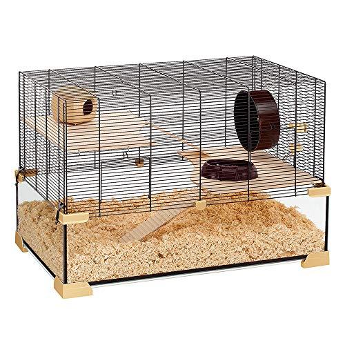 Ferplast Käfig für Hamster oder Mäuse Karat 60 Lebensraum für kleine Nagetiere, Struktur auf zwei Ebenen mit Zubehör, Flüssigkeitsresistente Etagen, 78,5 x 45,5 x 52,5 cm