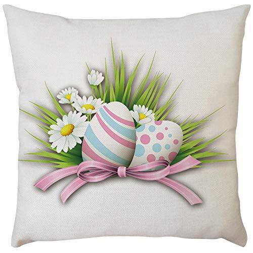 Funda de cojín cuadrada de conejo de Pascua para sofá, silla, sofá, dormitorio, funda de almohada decorativa de 45,7 x 45,7 cm