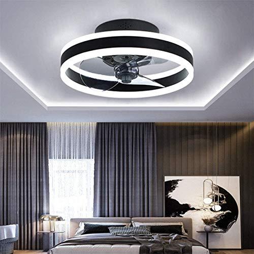 DULG Ventilador Luz de techo Reversible Regulable Velocidad del viento ajustable Lámpara del ventilador 48W Dormitorio Sala de estar Ventilador de techo con luz Temporizador inteligente Silenc