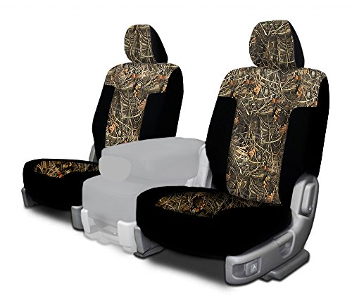 CarsCover Custom Fit 2009-2014 Ford F150 F250 F350 Pickup Truck Wetsuit Neoprene Car Front Seat Covers Camo and Black Sides Driver & Passenger Cover Real Maple Forest Tree leaf Camouflage Covers