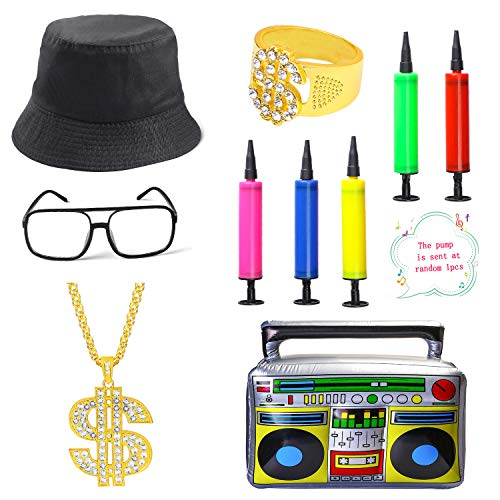 Beelittle 80s 90s Hip Hop kostuum set katoenen emmer hoed vergulde Dollar ketting Ring opblaasbare Boom vak Rapper bril - Hip Hop accessoires Kit (B)