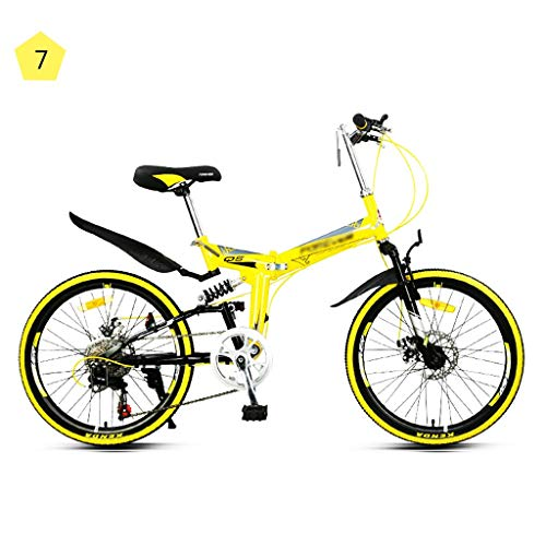 Folding Bikes Folding Mountain Bike Outdoor Travel Cycling Bicycle Men and Women Speed Ultralight Portable Bicycle High Carbon Steel Frame, 7 Speed (Color : Yellow, Size : 22inches)