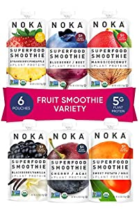 NOKA Superfood Pouches (6 Flavor Variety) 6 Pack   100% Organic Fruit And Veggie Smoothie Squeeze Packs   Non GMO, Gluten Free, Vegan, 5g Plant Protein   4.2oz Each