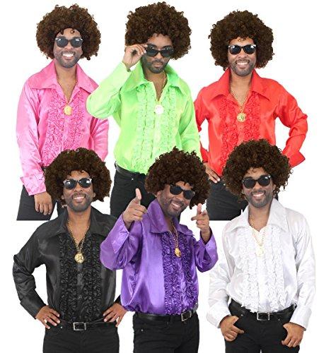 Disfraz para hombre de los años 70 de Disco, disfraz de noche para hombre – peluca afro, camisa de disco, medallón dorado y gafas de sol estilo (rojo   XX-LARGE)