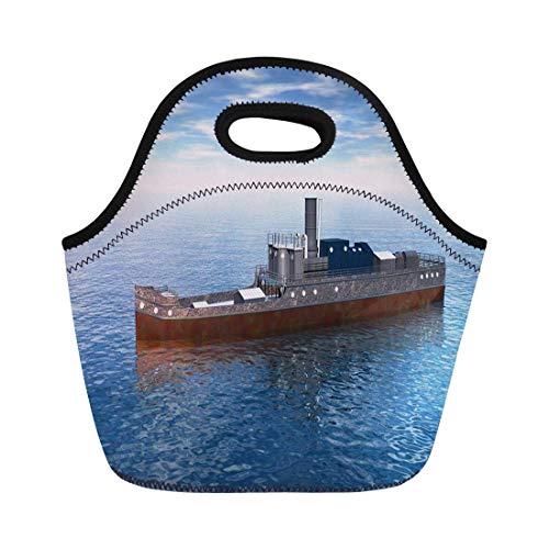 haoqianyanbaihuodian Bolsas de almuerzo Gráficos Cargo Seafaring 3D Rendering Ship Nautical River Navigation Bolsa de almuerzo de neopreno Bolsa de almuerzo Bolsa de picnic portátil Bolsa de nevera