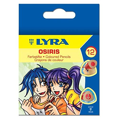 LYRA Osiris Water-Soluble Short Colored Pencils, 3 Millimeter Cores, Set of 12 Pencils, Assorted Colors (2501120)