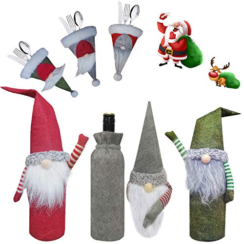XIRGS Christmas Wine Bottle Cover, 6 Packs Handmade Xmas Gnome Wine Bottle Covers Bags and Santa Knifes Forks Bags, Festival Table Ornament, Perfect for Christmas Decors Holiday Party New Year