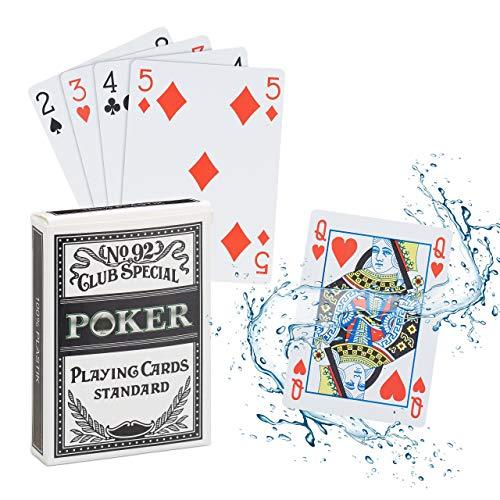Relaxdays 10023628 Pokerkarten Plastik, wasserfestes Kartenspiel, reiß-& knickfest, 54 Karten, Texas Hold'em, Profi Pokerset, weiß