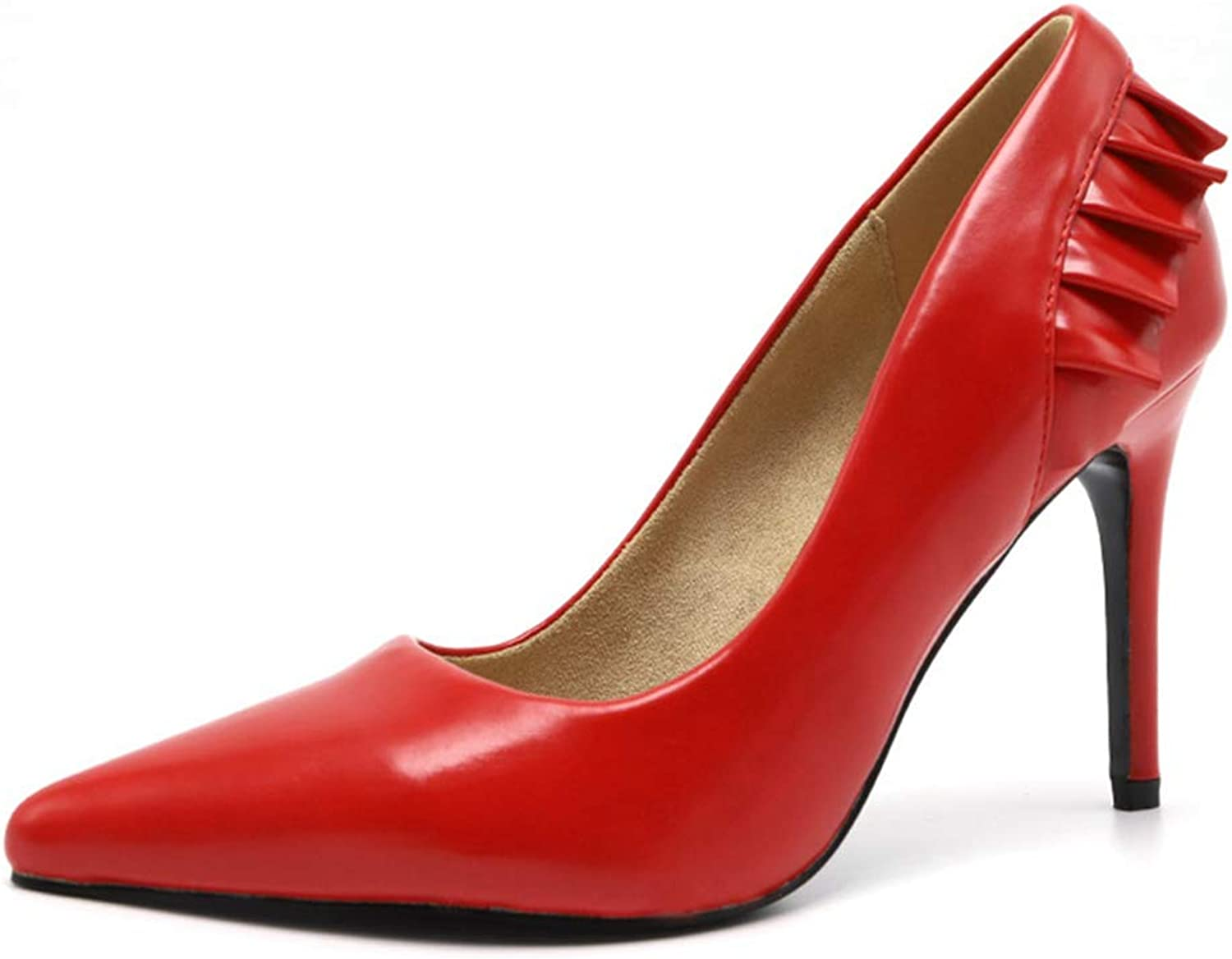 Sam Carle Womens Pumps,Pointed Toe Super High Thin Heel Slip On Wedding Party shoes Red Pumps