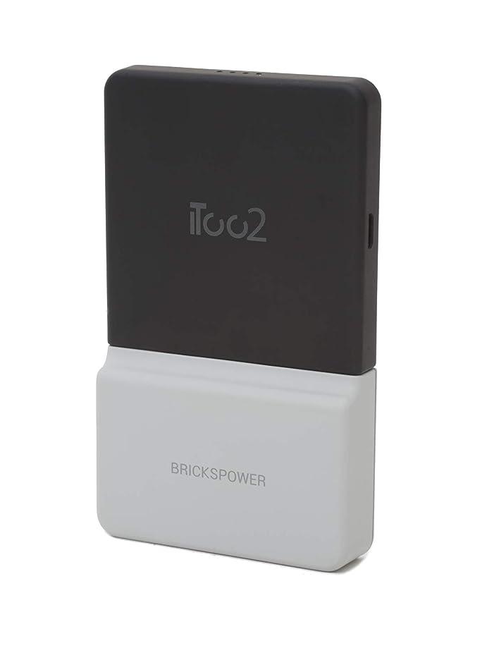 許すパラシュート敵意無線充電を持ち歩ける ポップで可愛いQi対応モバイルバッテリー Brickspower(ブリックスパワー) (Grey)
