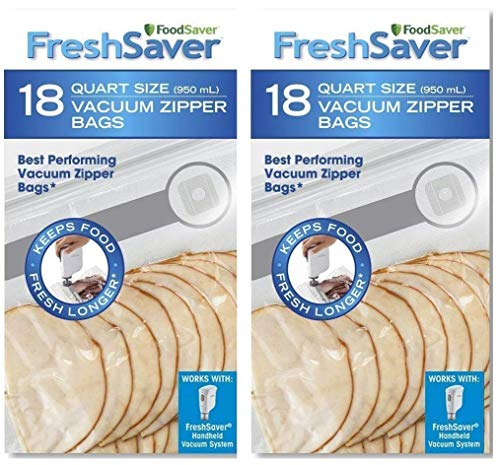 FoodSaver Freshsaver 18 Quart-sized Vacuum Zipper Bags - 2 Pack (36 Count)