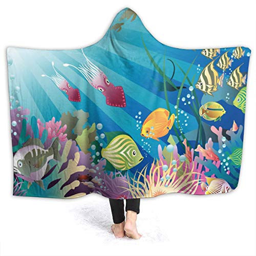Nine9er Fish Tank Aquarium Hooded Blanket Wearable Hood Poncho Cloak Cape Funny Blanket 80