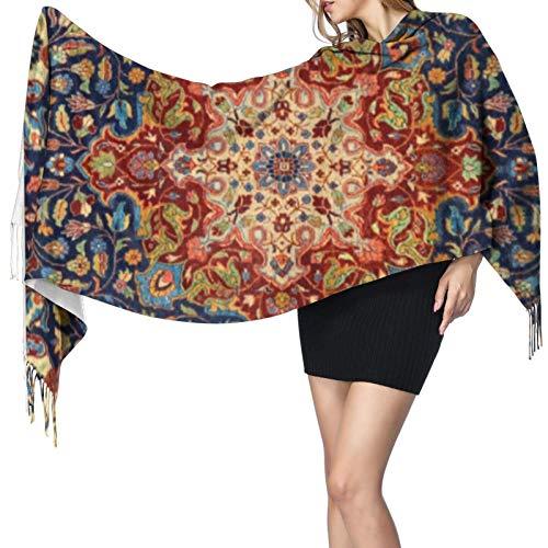 Long châle chaud pour femme avec motif tapis persan oriental, grand foulard, toucher cachemire
