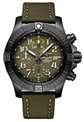 Green Dial with Arabic Numeral Hour Markers Black Titanium Case on Khaki Green Military Leather Strap Case Diameter: 45 mm Self-winding Automatic Movement 300 Meters / 1000 Feet Water-Resistant