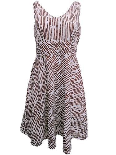 Amanda Lane Inc. Womens White Brown Striped Polka Dot Print A-Line Dotted Dress