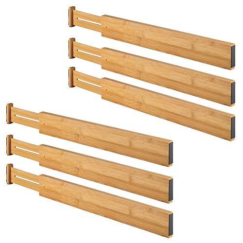 mDesign Juego de 6 separadores de cajones ajustables – Geniales organizadores de cajones – Flexible divisor de cajones en bambú, ideal para ordenar armarios y cómodas – marrón