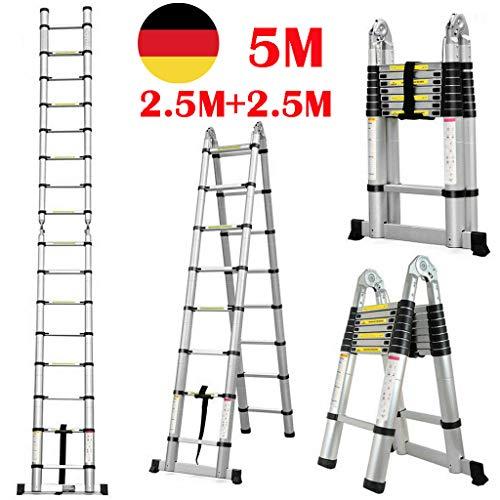 5M Teleskopleiter Klappleiter Schiebeleitern & A Rahmen Mehrzweckleiter mit Rutschfest Stützstange Teleskop Design Leiter Ausziehbar bis 150 Kg Belastbar (5M / 2,5M+2,5M)
