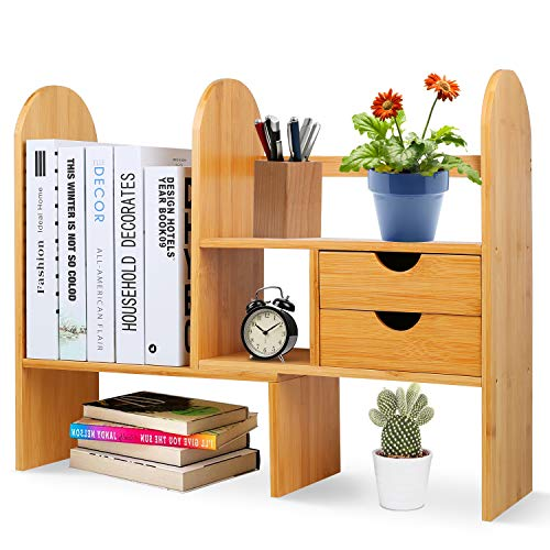 Desktop Bookshelf with 2 Drawers, Adjustable Wood Desk Storage Organizer Display Shelf Rack for Office Supplies, Kitchen,Bathroom, Makeup