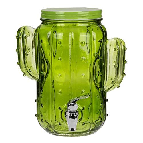 Distributore in vetro per bevande, barattolo con cactus