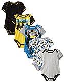 Warner Bros. - Bodies de Verano de Batman Disfraz Friki Divertido y Original Gris para Bebé Niño 6-9 Meses (Pack de 5)