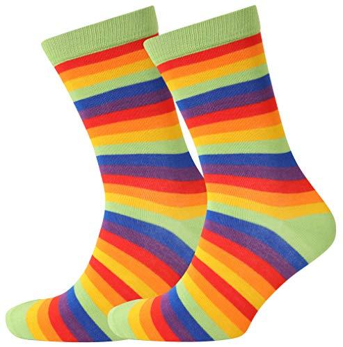 Bambussocken 2 Paar, bunt gestreift, Fair Trade Gr. M, 2 Pairs Rainbow Stripe
