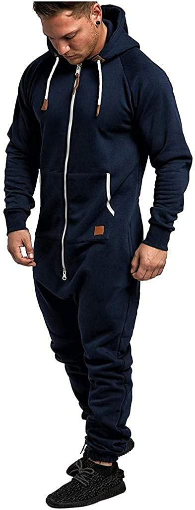 Men's Onesie Jumpsuit Zip Up One Piece Pajamas Playsuit Jogger Sweatsuit Overall Romper with Pockets
