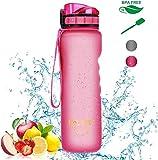 ZMING Leakproof Tragbarer 1 Liter Wasserflasche BPA Freie Sport-Wasserflasche mit Messungen Filter Flip Top & Wide Mouth & Sichere Locking Lid-Ideal for Gym Radfahren Jogging Yoga Wandern -