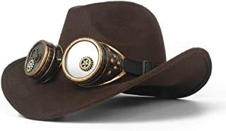 SHENTIANWEI Men Women Wool Western Cowboy Hat with Gear Glasses Roll Up Hat Wide Brim Sombrero Cap Fascinator Hat Size 56-58CM