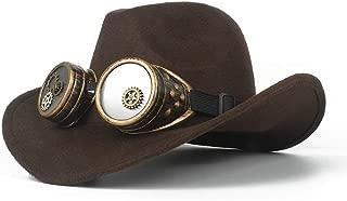 SHENTIANWEI Men Women Wool Western Cowboy Hat with Gear Glasses Roll Up Hat Wide Brim Sombrero Cap Fascinator Hat Size 56-58CM