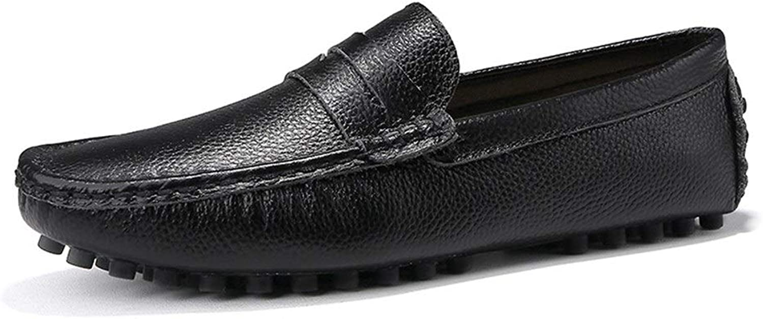 Easy Go Shopping For Men Driving Loafer Boat Moccasins Slip On PU Leather Low Top Round Toe Cricket shoes (color   Black, Size   11.5 UK)