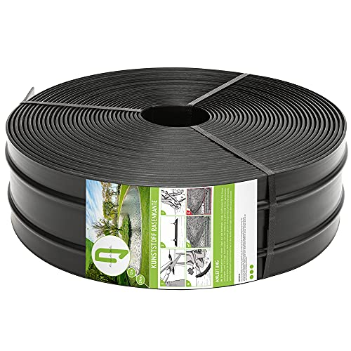 TerraUno - Kunststoff Rasenkante 12 Meter - Breite 120mm I Stärke 3mm I Rasenabgrenzung & Beeteinfassung I Flexible Rasenkante aus Kunststoff mit verstärktem Profil für stabilen Halt