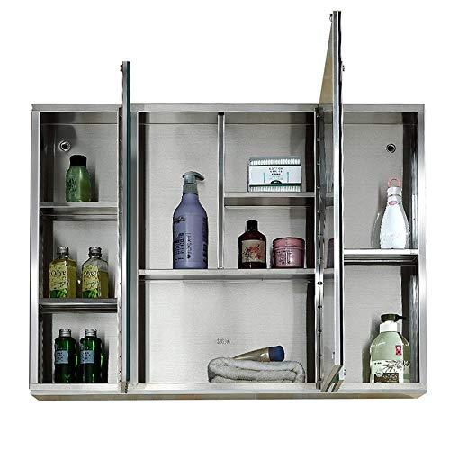 JOMSK Armadio di Stoccaggio Acero Inoxidable Medicina Espejo Espejo Gabinete Gabinete de Almacenamiento de baño for Montaje en Superficie (Color : Silver, Size : 100X65CM)