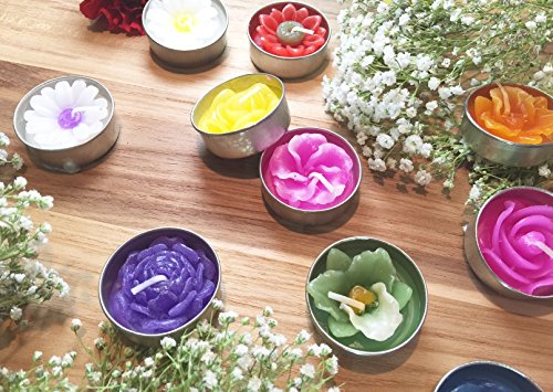 Asiana Home Decor Tealight Candles Assorted Flowers and Colors (10)