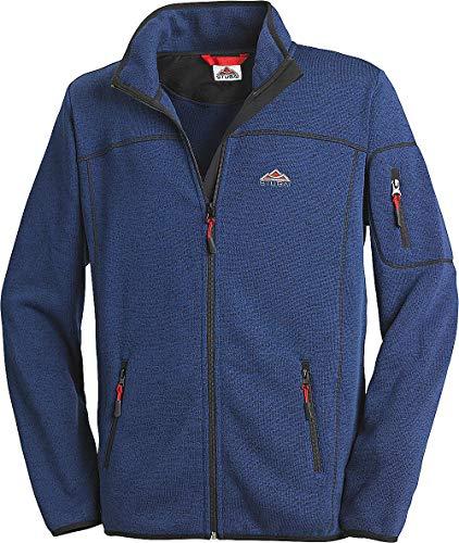 Stubai - Strick Fleecejacke Herren/Strickjacke mit Fleece Innenseite für Outdooraktivität, Strick Fleece Jacke mit Stehkragen und Reißverschluss (Farbe: Dunkelblau, Größe: M - 3XL)
