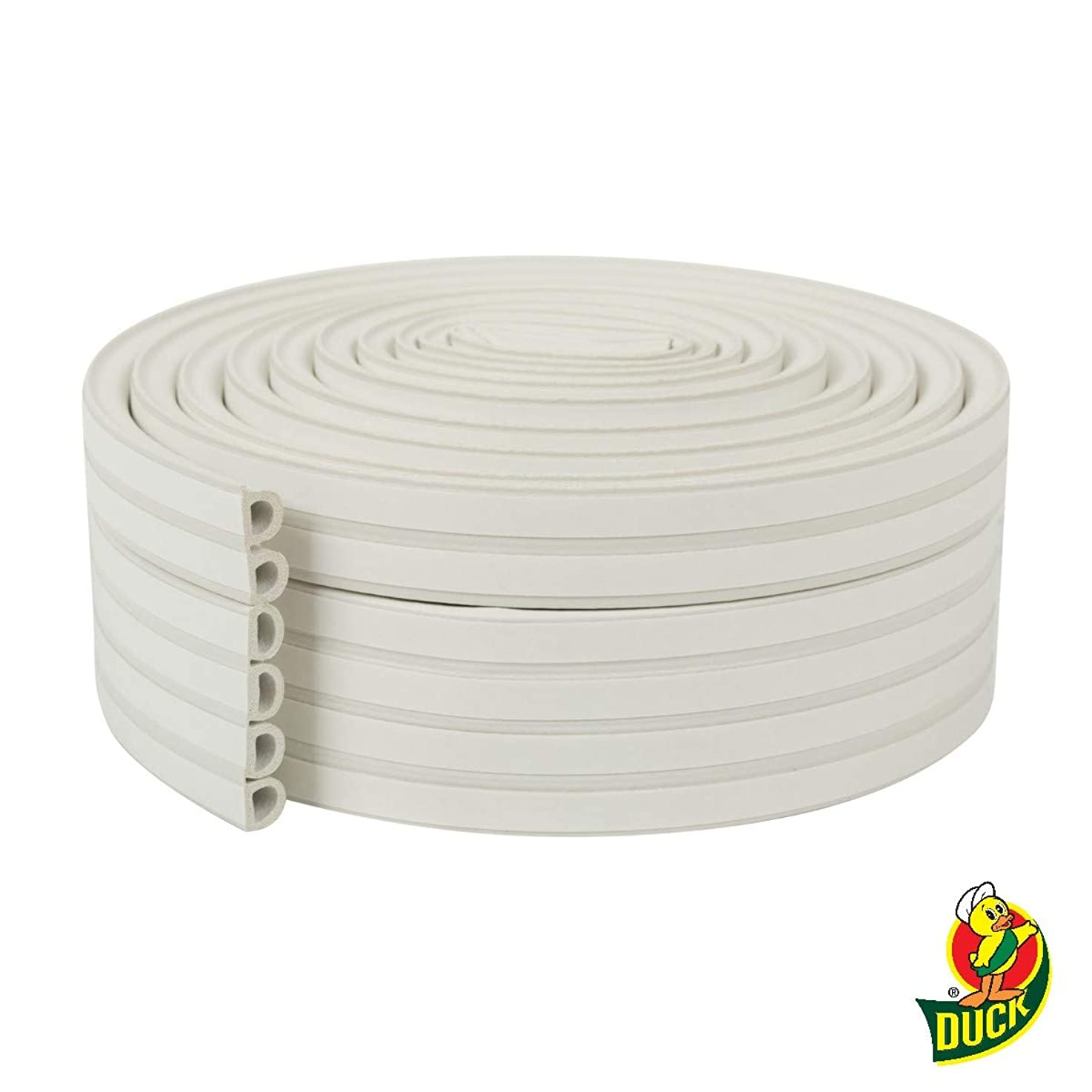 Duck Brand Heavy Duty Self-Adhesive Weatherstrip Seal For Large Gaps, White, 3/8 inch x 1/4 inch x 17', 3 Seals, 285231