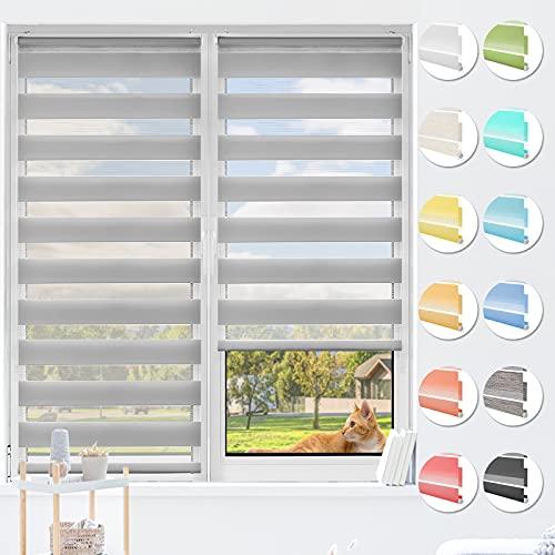 HOMEDEMO Doppelrollo Klemmfix ohne Bohren & mit Bohren, Rollos für Fenster und Tür, (Grau, 90x120cm) Duo Rollo Klemmrollo lichtdurchlässig, Fensterrollo Sichtschutz