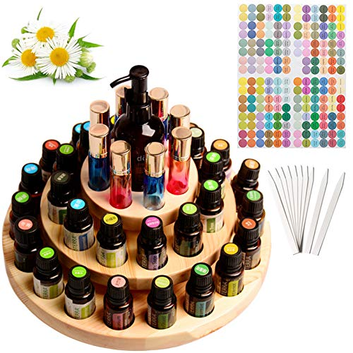 VolksRose Essential Oil Box, Wooden Storage Holds Organizer 39 Slots 3 Layers Essential Oil Container, Aromatherapy Natural Wood Round Rotating Display Rack