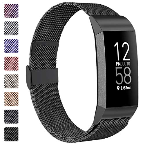 ZWGKKYGYH Bands Compatible with Fitbit Charge 4 and Charge 3 for Women Men, Stainless Steel Metal Mesh Magnetic Band Replacement Accessories Bracelet Strap with Unique Magnet Lock, Black Large