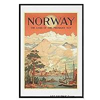 ノルウェー、真夜中の国-ヴィンテージトラベルキャンバス絵画装飾壁アート写真寝室研究家のリビングルームの装飾40x60cmフレームなし